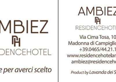 Cartellino Ambiez Residence Hotel Madonna di Campiglio
